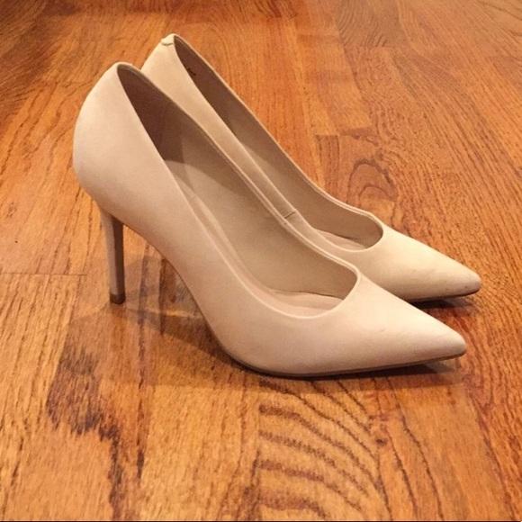 Aldo Tan Cream Suede Pointed Toe Heels