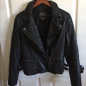 Muubaa genuine leather motor biker jacket sz US 8