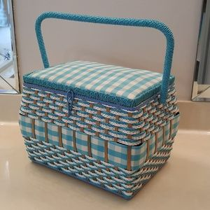 Huge Blue Sewing Box, Vintage with tag