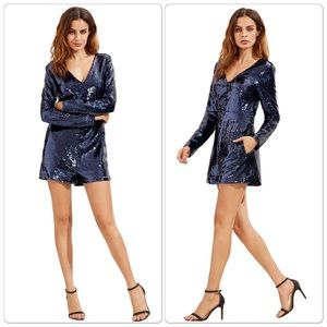 Pants - Gorgeous Long Sleeve Deep V Neck Sequined Romper