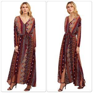 Dresses & Skirts - Gorgeous Aztec Print Tie Waist Split Maxi Dress