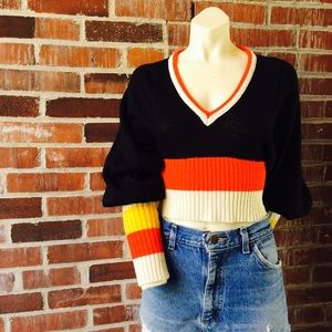 Vintage 50|60s Colorblock Cropped Sweater
