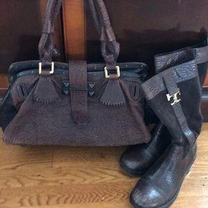 CHLOE Distressed Leather Brown & Black Satchel😍👜