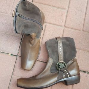 Men's square toe zip up boot Leather NEW