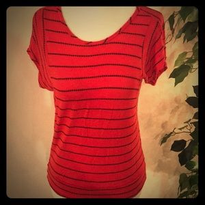 Red and Black Stripe Blouse
