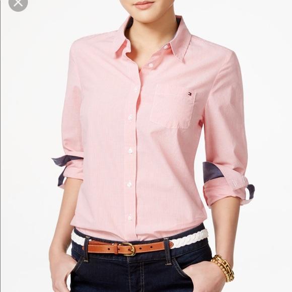 dd83a0b6c4efa3 Tommy Hilfiger Tops | Womens Pink Button Up | Poshmark