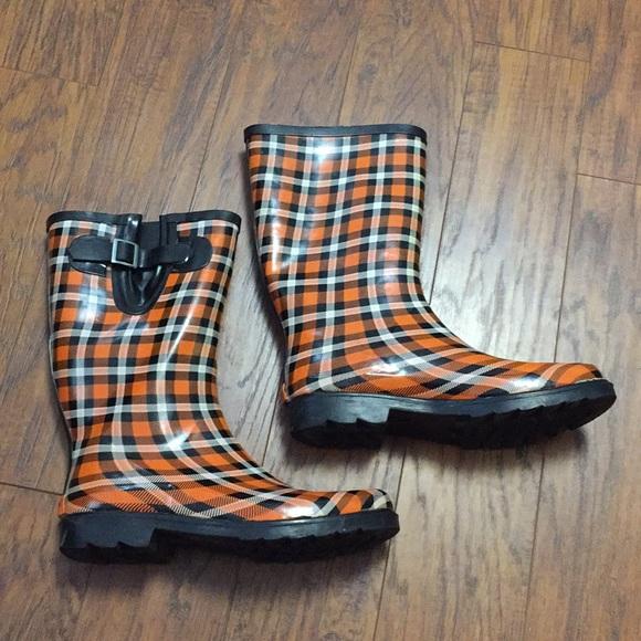 a142b03b778 Rain boots OSU Oklahoma State Cowboys Plaid orange.  M 5a21bb3fea3f363e210088a6