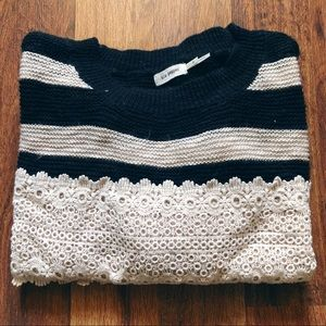 Stripes and lace sweater