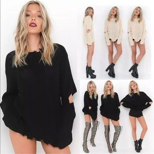 Sweaters - Trendy oversized sweater with distressed details
