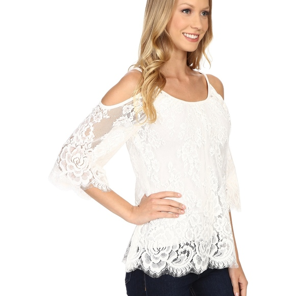 bac560035 Karen Kane Tops - Karen Kane Lace Cold-Shoulder Top White