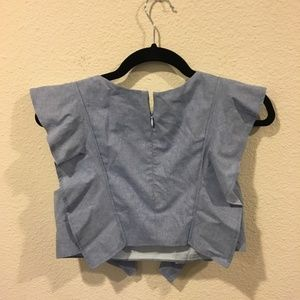 One by Viva Aviva Tops - ONE by Viva Aviva 'Magnolia' chambray crop top