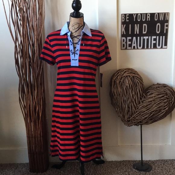 "f3e94bc219c Cute Chaps ""Sailor Bay"" striped lace front dress"