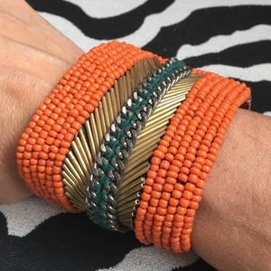 """Jewelry - Beaded cuff bracelet! Leather and beads! 7 1/4"""""""