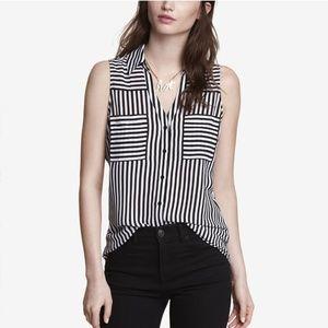 Express black striped sleeveless Portofino shirt