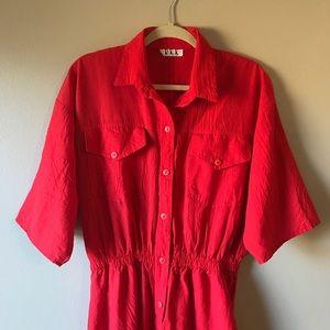 Vintage Red Short Sleeve Jumpsuit
