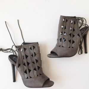 NIB Missguided grey suede lace up heels