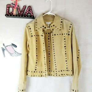 CACHE CARDIGAN WITH GOLD GROMMETS