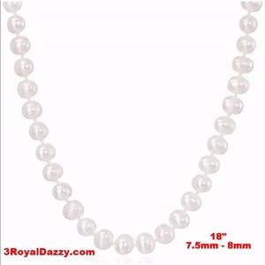 Jewelry - 7.5-8mm  White AAA Quality Pearl Necklace -18""