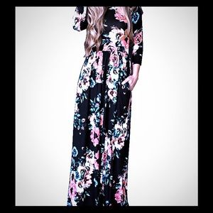 Dresses & Skirts - Brand new black floral maxi dress /long sleeve
