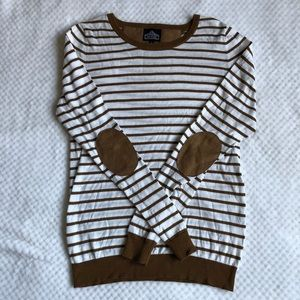 Angie Elbow Patch Stripe Sweater