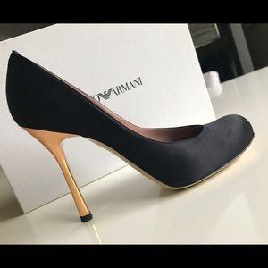 Emporio Armani black satin evening shoes