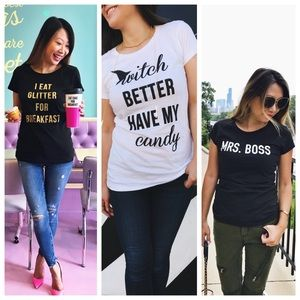 THREE FITTED GRAPHIC TEES! ❤️💋