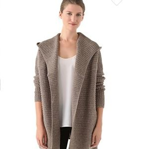 Vince hooded brown knit cardigan