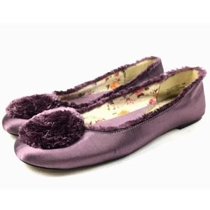 Sam & Libby Satin Boho Ballet Flats Leather Soles
