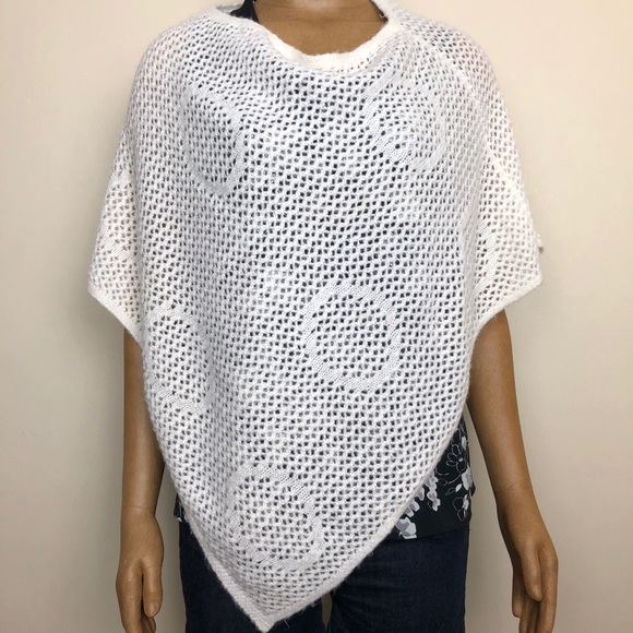 I.E Relaxed Accessories | Ivory Knit Pull Over Poncho Shawl | Poshmark