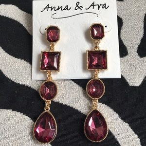 NWT Anna & Ava drop earrings - gold and burgundy