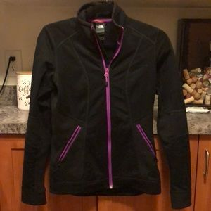 Black north face zip up with purple trim, size S
