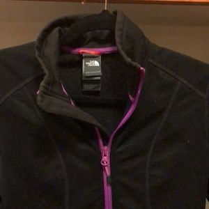North Face Jackets & Coats - Black north face zip up with purple trim, size S