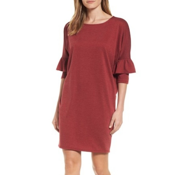 Bobeau Dresses & Skirts - NWT Bobeau red ruffle sleeve tunic dress