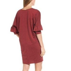 Bobeau Dresses - NWT Bobeau red ruffle sleeve tunic dress