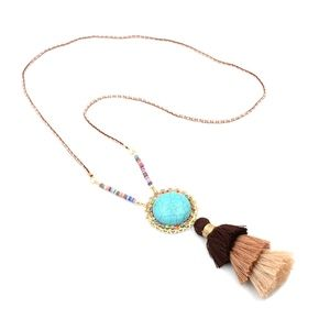 Jewelry - Turquoise Stone Fringe Tassels Statement Necklace