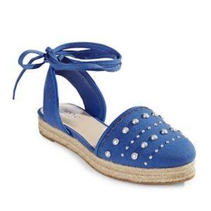 IMNYC Isaac Mizrahi blue pearl studded espadrilles