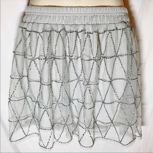 Aeropostale NWOT Sexy Beaded Silver Mini Skirt