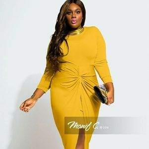 "Monif C. Mustard Knot ""Gigi"" Dress"