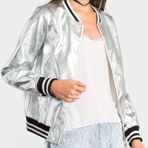 Jackets & Blazers - Spring 2018 Metallic silver leather bomber jacket