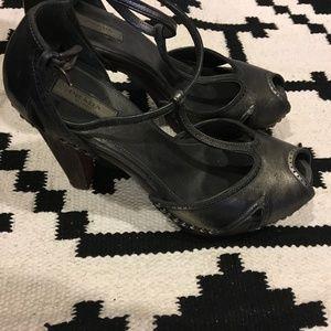 Prada Shoes - Prada silver clog heels