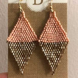 Coral and Gold Statement Earrings