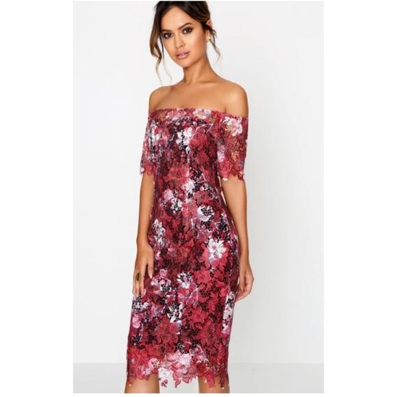 6cf98671fdc2 Dresses   Skirts - 🐙Paper dolls Wine Bardot Floral Midi Lace Dress