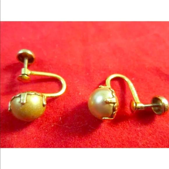 c967d868b Jewelry | 10k Y Gold Screwback Earrings Wfaux Pearl | Poshmark