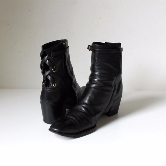 ef9f7df6bc YSL Block Heel Ankle Boots with Lace Up Buckles
