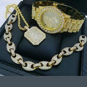 Other - 13K GOLD PLATED ICED OUT WATCH BRACELET CHAIN