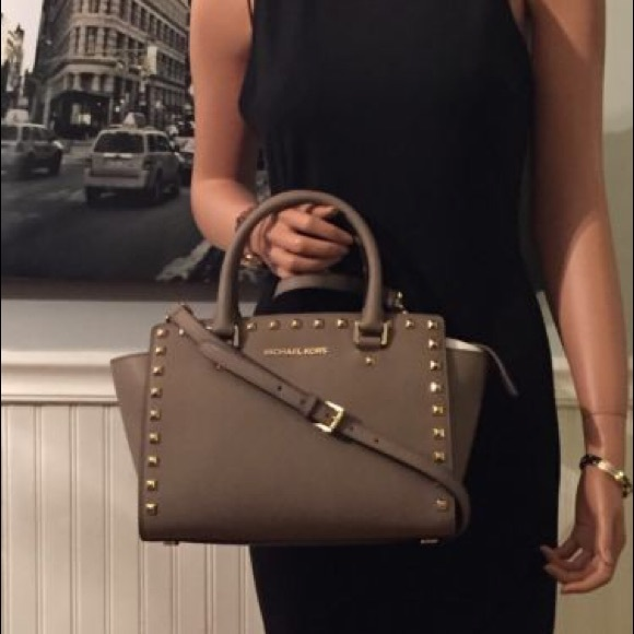 bc7c14a807d28b Michael Kors Bags | Studded Medium Dark Dune Selma Purse | Poshmark
