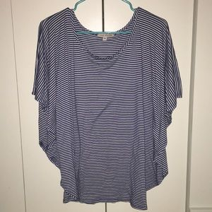 Blue and White Striped Blouse - Red Haute