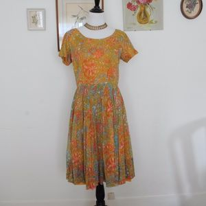 Gorgeous 1950s chiffon fall colors party dress