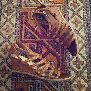 Shoes - Etienne Aigner tan leather sandal wedges
