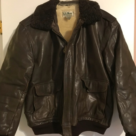 371fc2222 Men's brown leather LL Bean bomber jacket